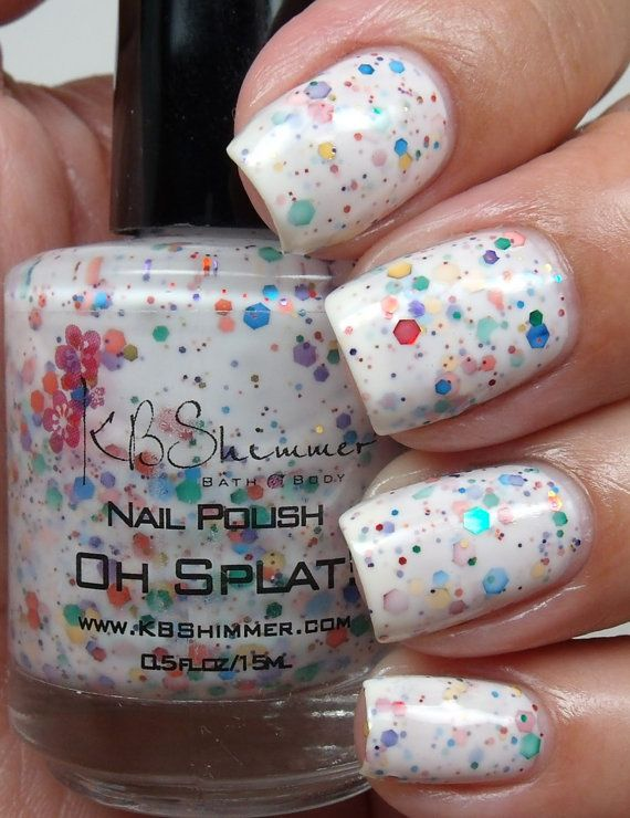 Nail Polish with Rainbow Splat