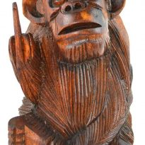 Rude Monkey Wooden Statue