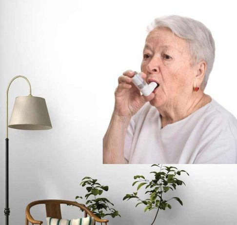Senior Woman with Asthma Inhaler Wall Decals