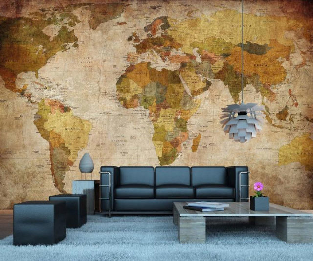 vintage world map wall mural this took my money. Black Bedroom Furniture Sets. Home Design Ideas