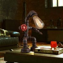 Retro Style Rust Iron Robot Plumbing Pipe Desk Table Lamp Light